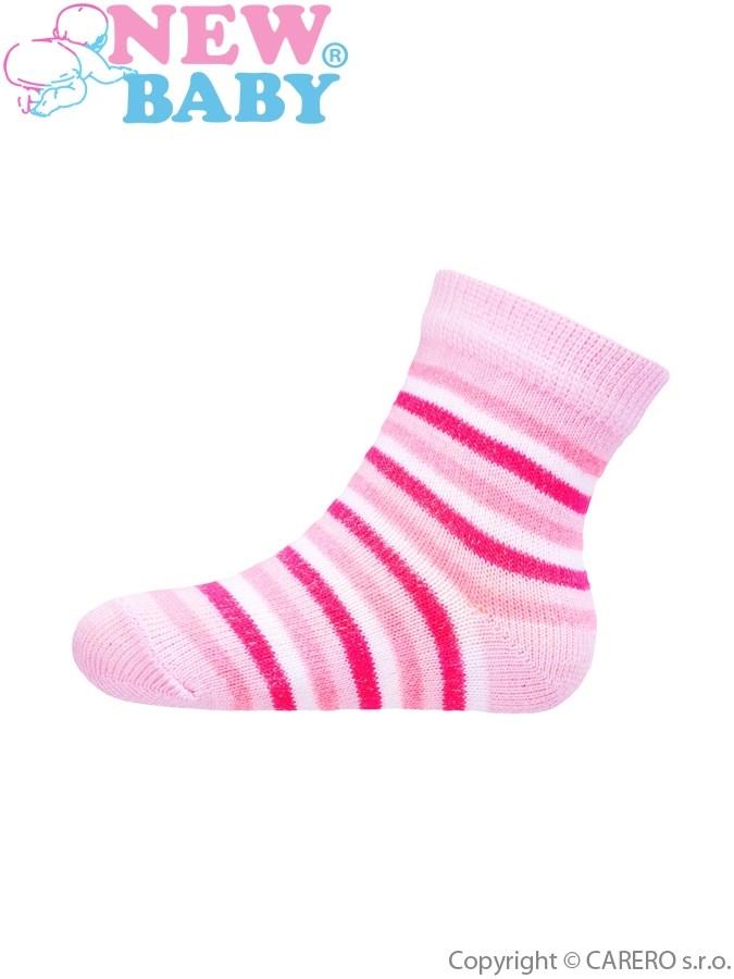 Dojčenské pruhované ponožky New Baby bielo-ružové