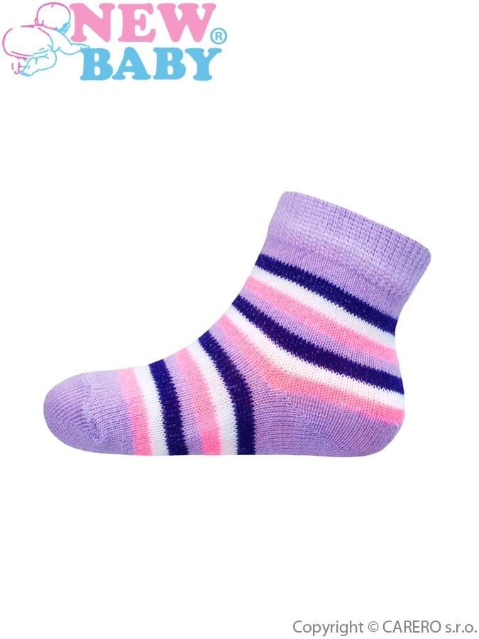 Dojčenské pruhované ponožky New Baby bielo-ružovo-fialové