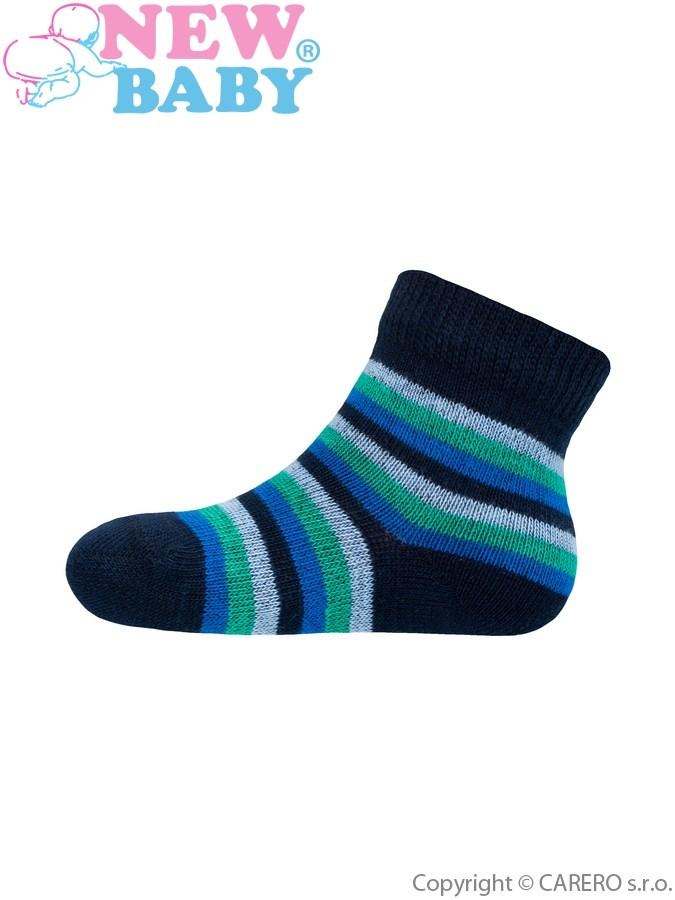 Dojčenské pruhované ponožky New Baby tmavo modro-zeleno-modré