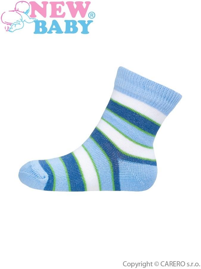 Dojčenské pruhované ponožky New Baby modro-bielo-zelené