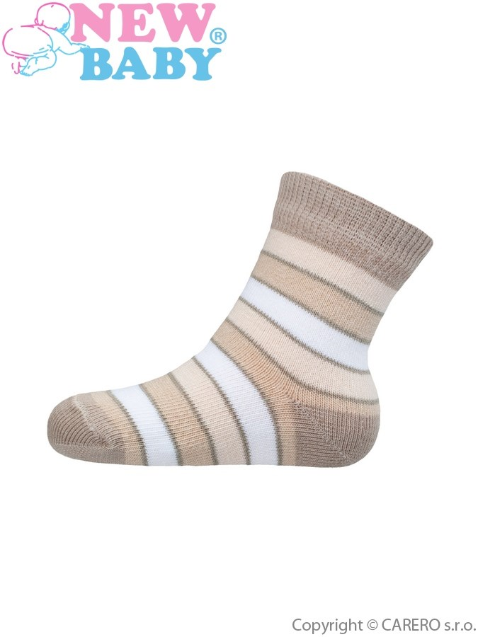Dojčenské pruhované ponožky New Baby bežovo-hnedé
