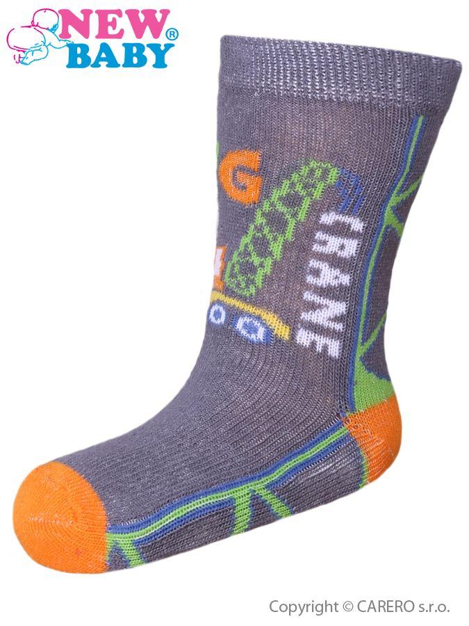 Detské ponožky New Baby s ABS sivé big crane