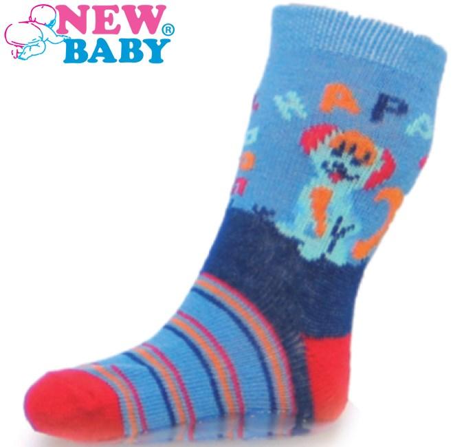 Detské ponožky New Baby s ABS modré happy dog