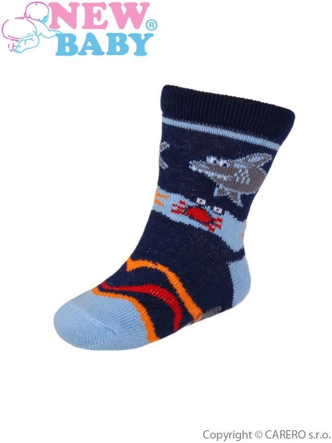 Detské ponožky New Baby s ABS modré so žralokom
