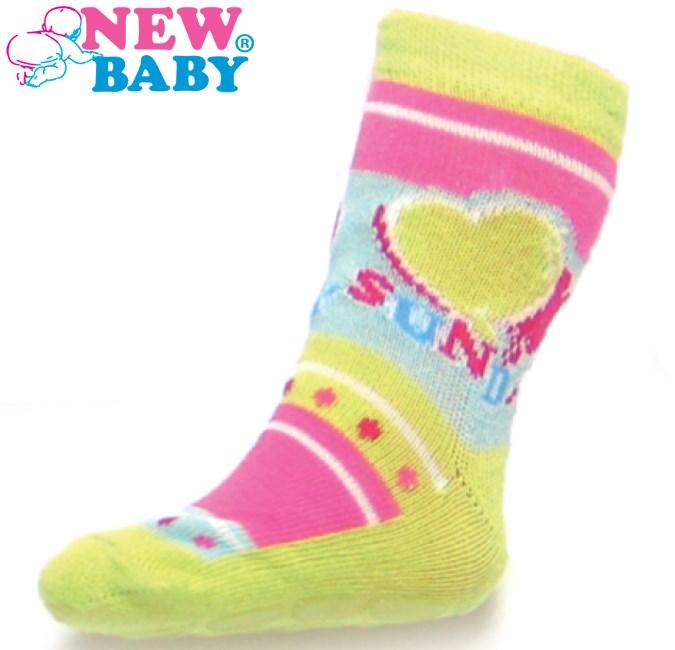 Detské ponožky New Baby s ABS žlté sunday