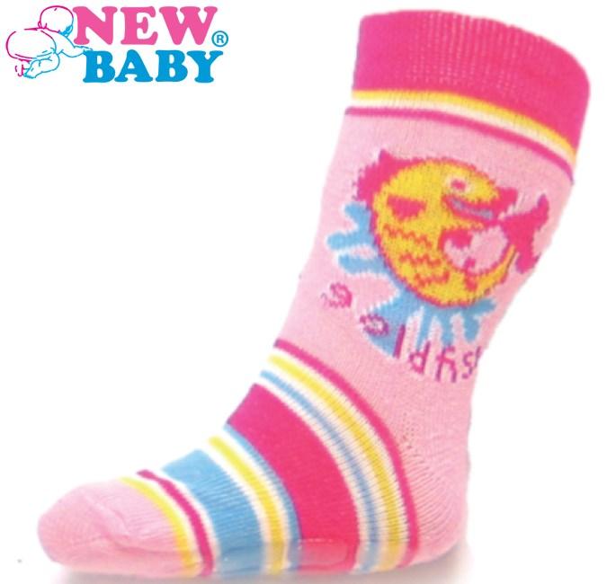 Detské ponožky New Baby s ABS ružové gold fish