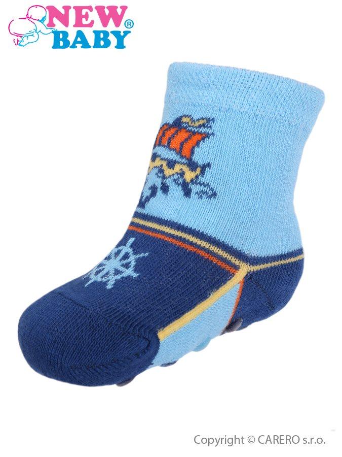 Dojčenské ponožky New Baby s ABS modré s loďou