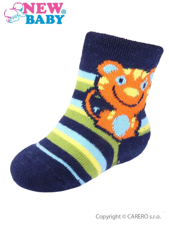 Dojčenské ponožky New Baby s ABS tmavo modré pruhované s tigrom