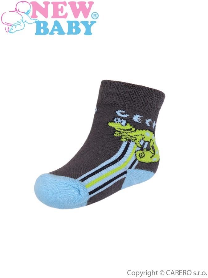 Dojčenské ponožky New Baby s ABS tmavo sivé s gekónom