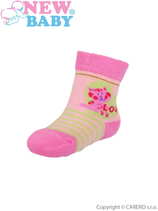 Dojčenské ponožky New Baby s ABS ružovo-zelené so srdiečkom love