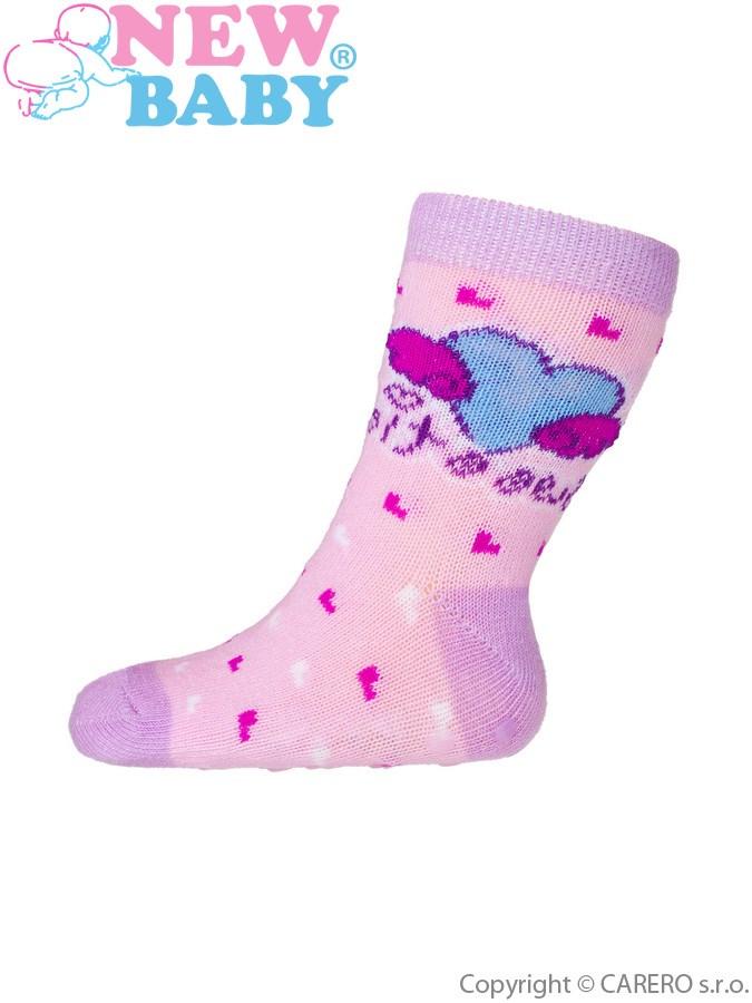 Dojčenské ponožky New Baby s ABS ružové sweetie