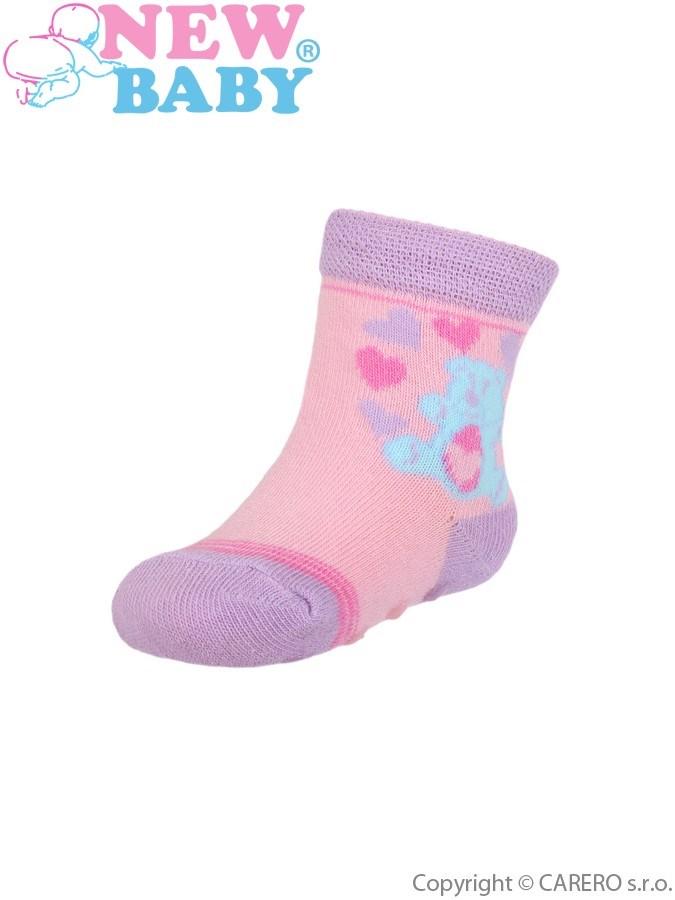Dojčenské ponožky New Baby s ABS svetloružové s medvedíkom