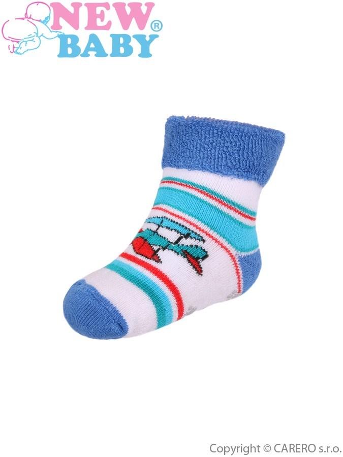 Dojčenské froté ponožky New Baby s ABS bielo-modré s letadlom