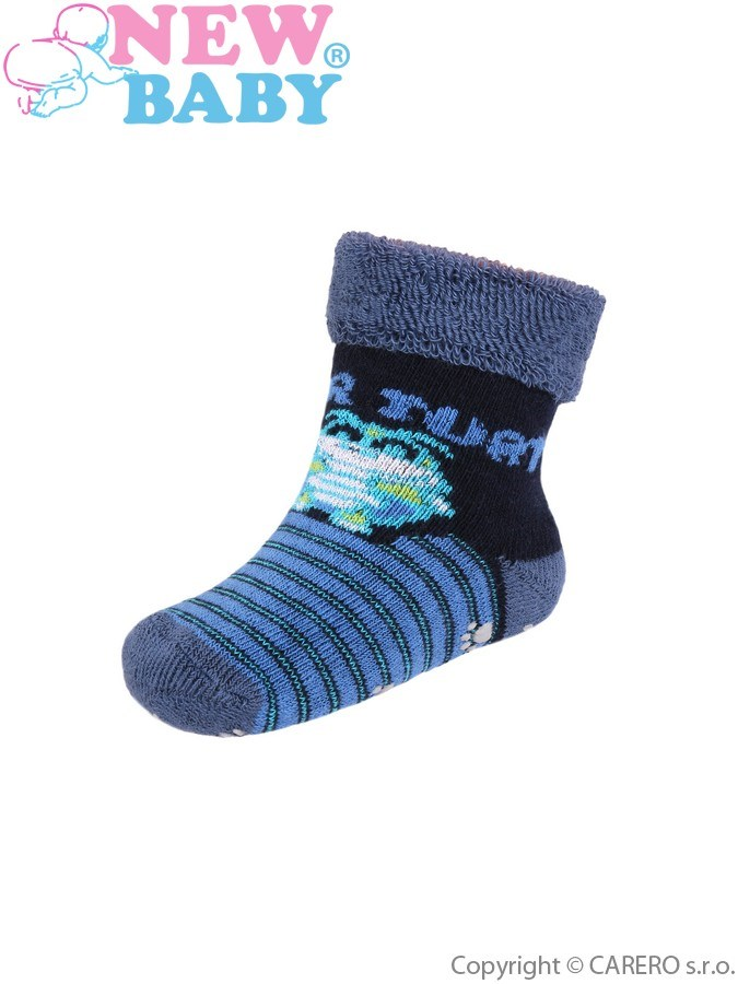 Dojčenské froté ponožky New Baby s ABS tmavo modré super turtle
