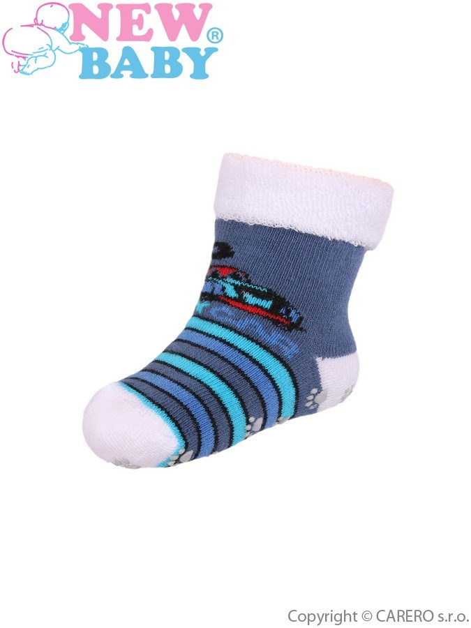 Dojčenské froté ponožky New Baby s ABS tmavo modré toy car
