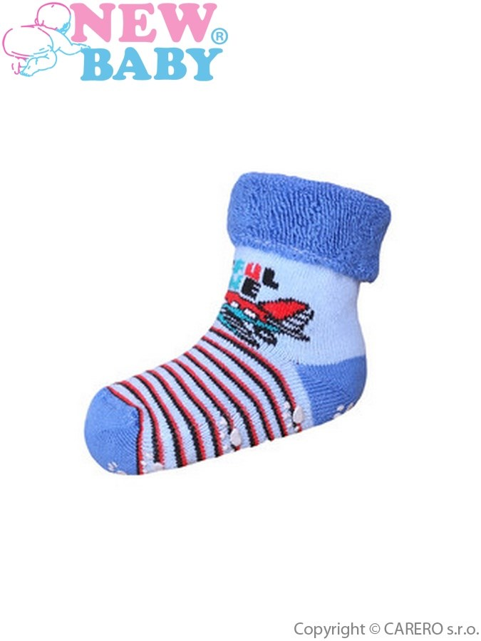 Dojčenské froté ponožky New Baby s ABS modré lietadlo
