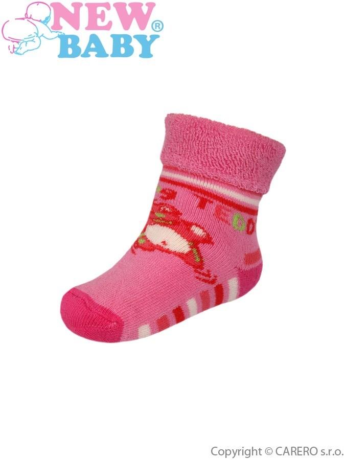 Dojčenské froté ponožky New Baby s ABS ružové jumping teddy