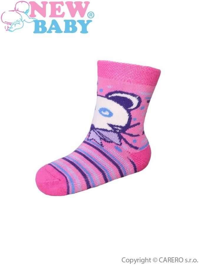 Dojčenské froté ponožky New Baby s ABS ružové s myškou a pruhy