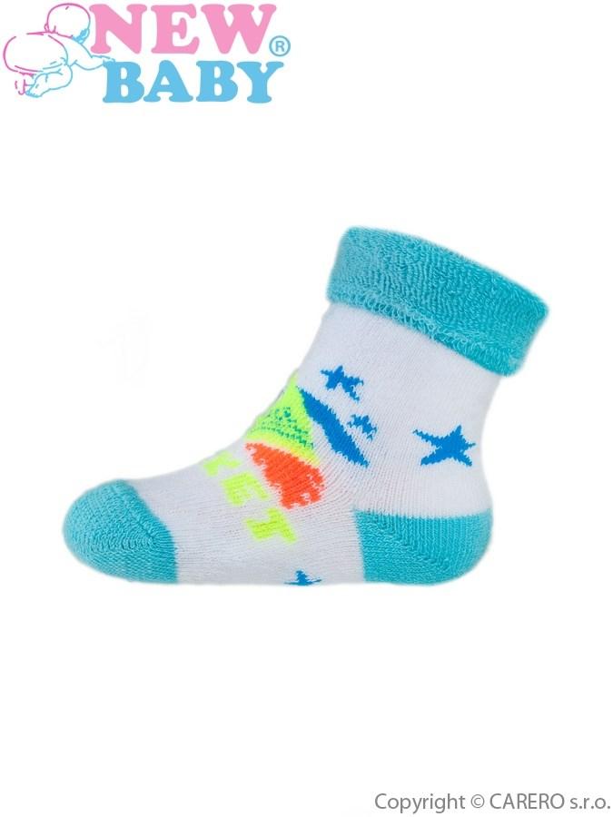 Dojčenské froté ponožky New Baby tyrkysové rocket