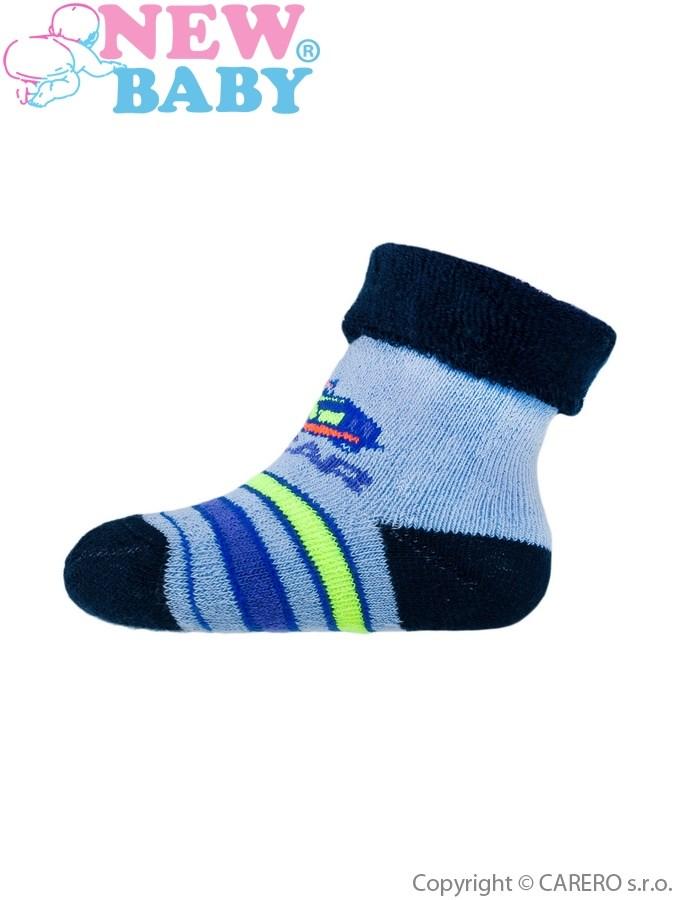 Dojčenské froté ponožky New Baby modré s autom