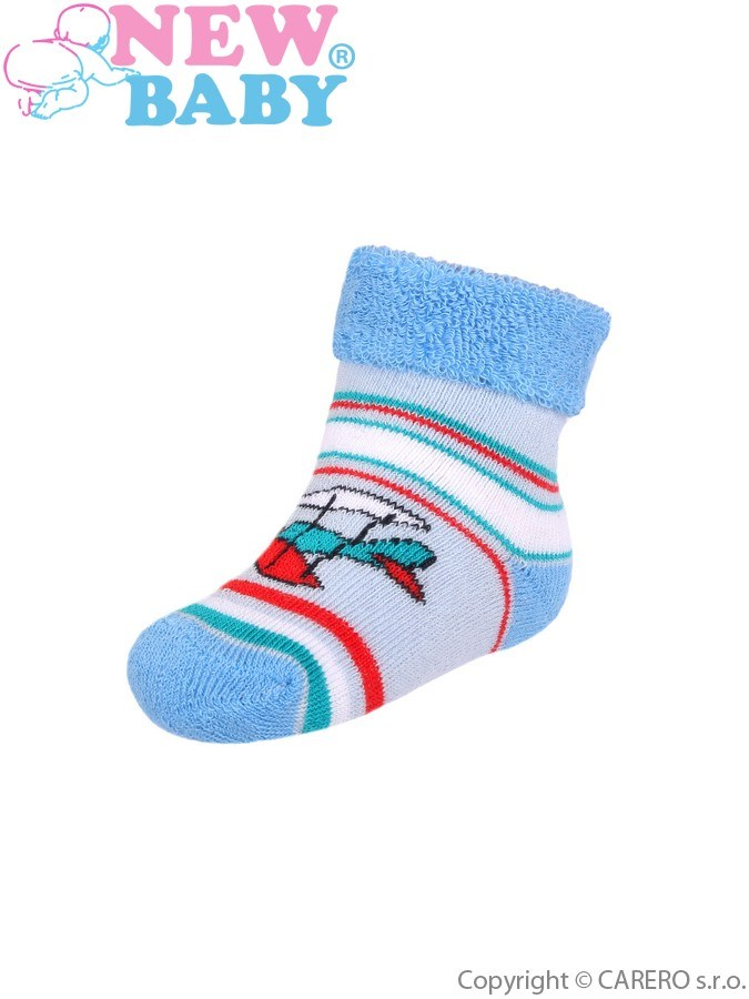 Dojčenské froté ponožky New Baby svetlo modré s lietadlom
