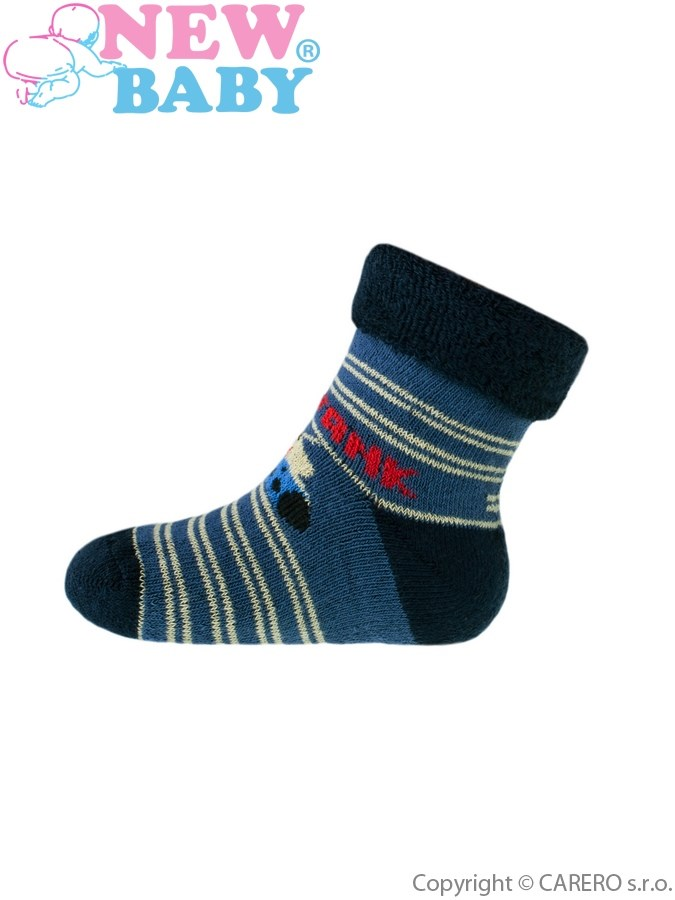 Dojčenské froté ponožky New Baby modré tank 102