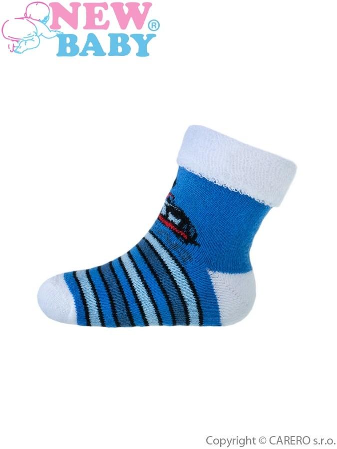 Dojčenské froté ponožky New Baby modré toy car