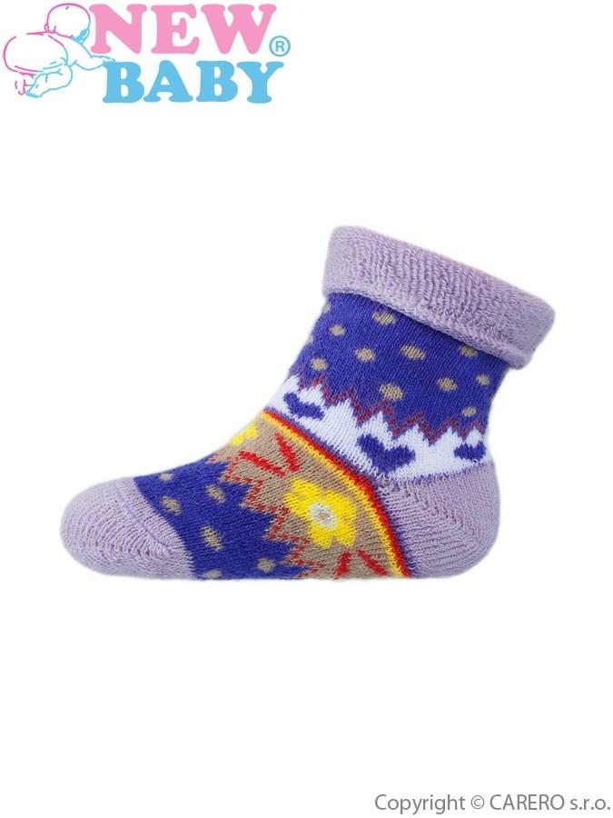 Dojčenské froté ponožky New Baby fialové s kvietkami