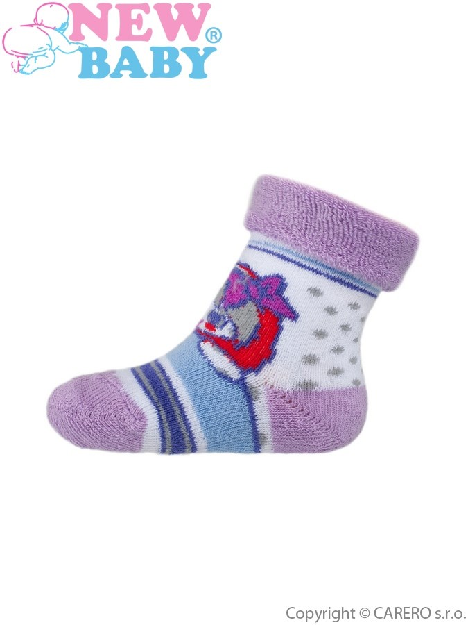 Dojčenské froté ponožky New Baby fialové s dievčatkom