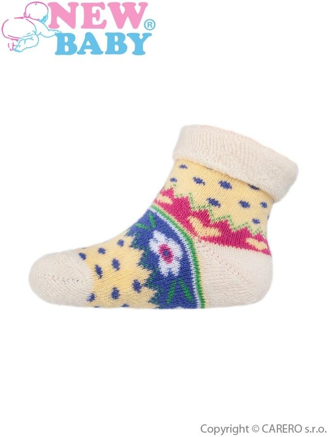 Dojčenské froté ponožky New Baby žlté s kvietinkami