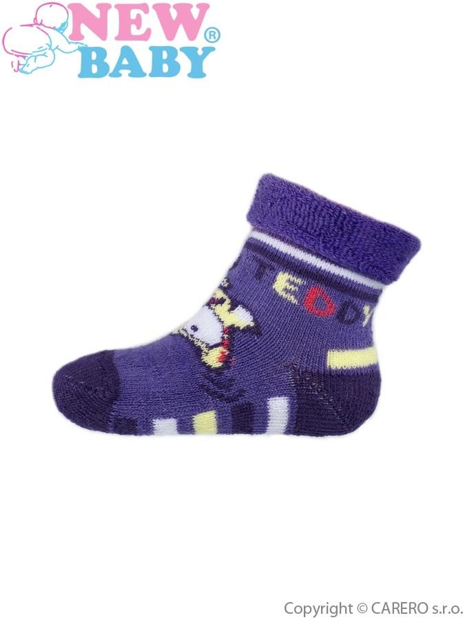 Dojčenské froté ponožky New Baby fialové jumping teddy