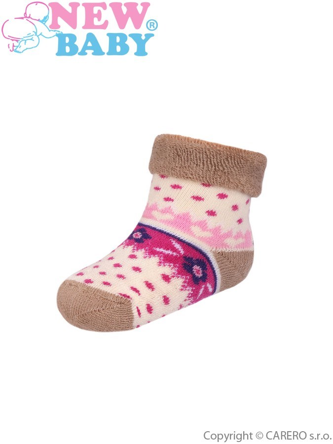 Dojčenské froté ponožky New Baby bežové s bodkami