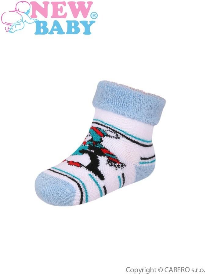Dojčenské froté ponožky New Baby modro-biele s tučniakom