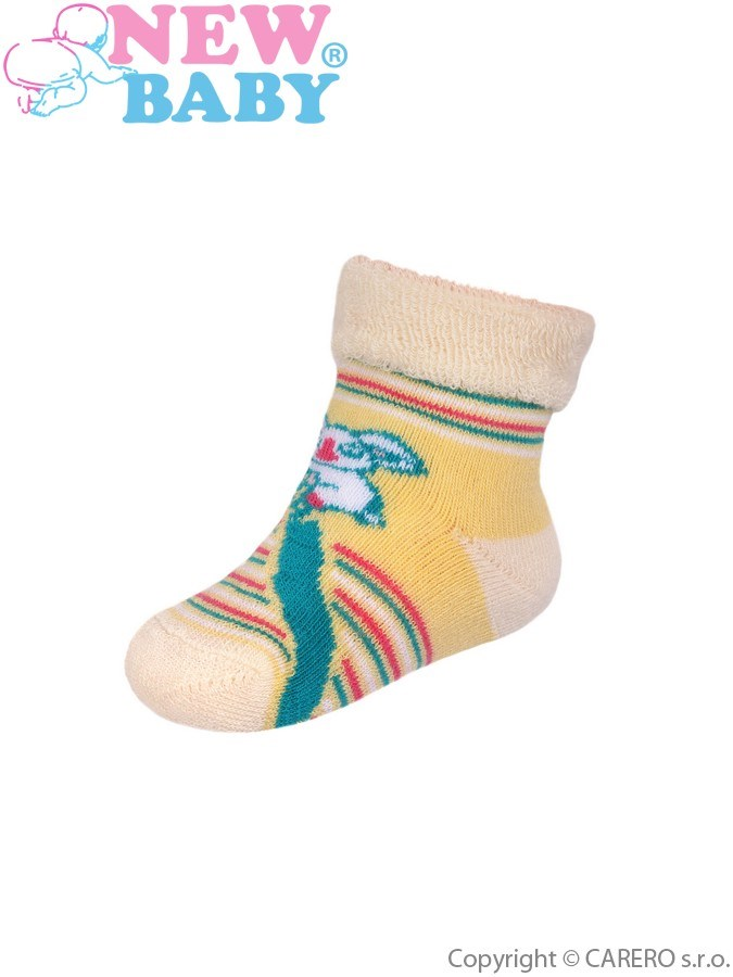 Dojčenské froté ponožky New Baby žlté s pruhmi