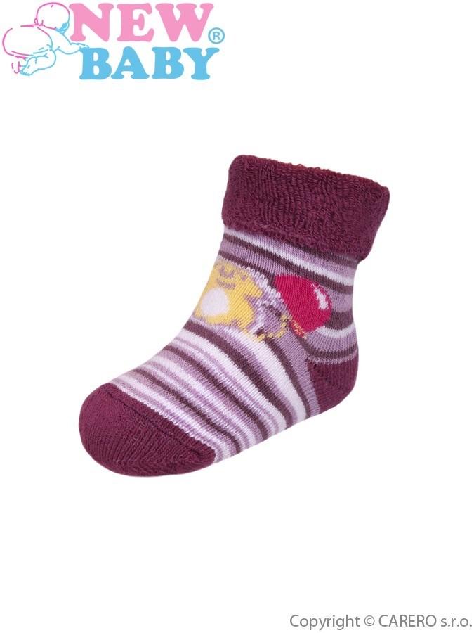 Dojčenské froté ponožky New Baby fialové s pruhmi