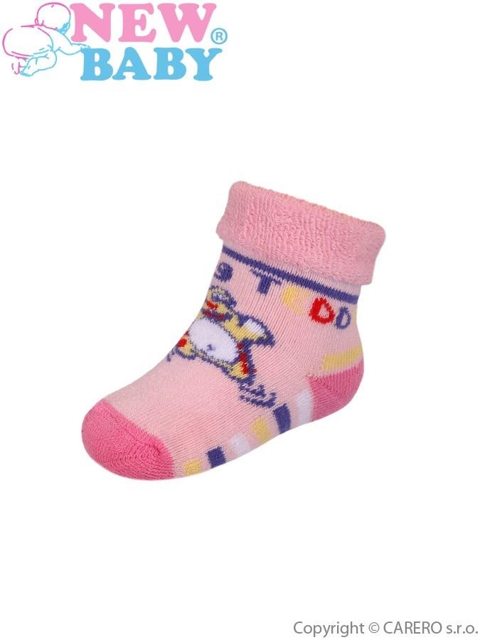 Dojčenské froté ponožky New Baby ružové jumping teddy