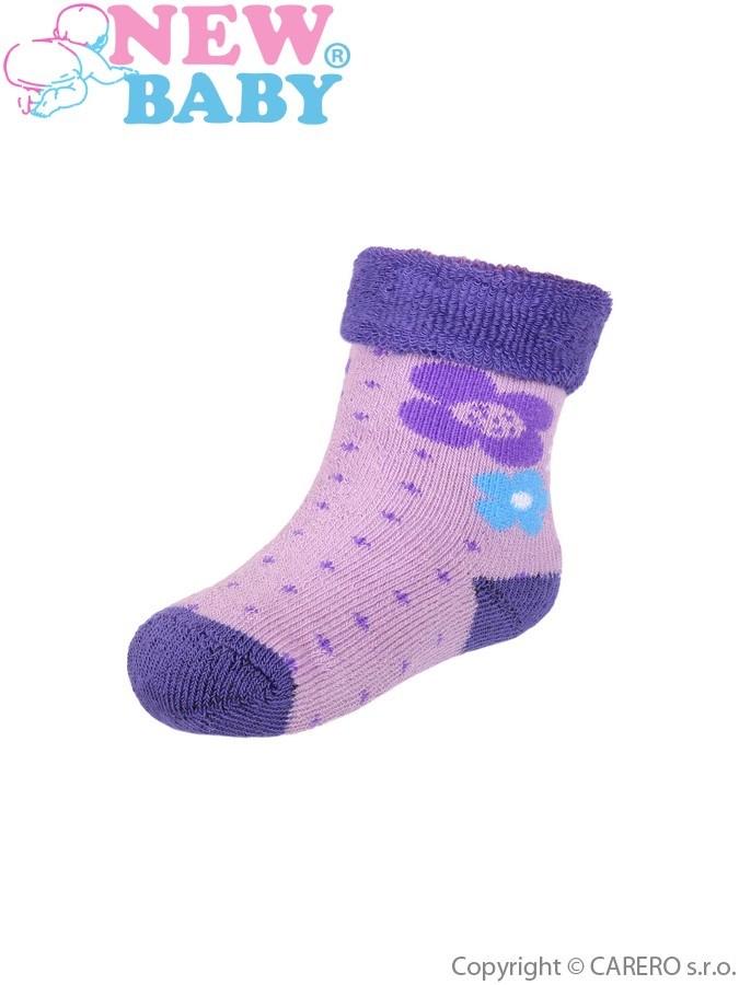 Detské froté ponožky New Baby so vzorom fialové
