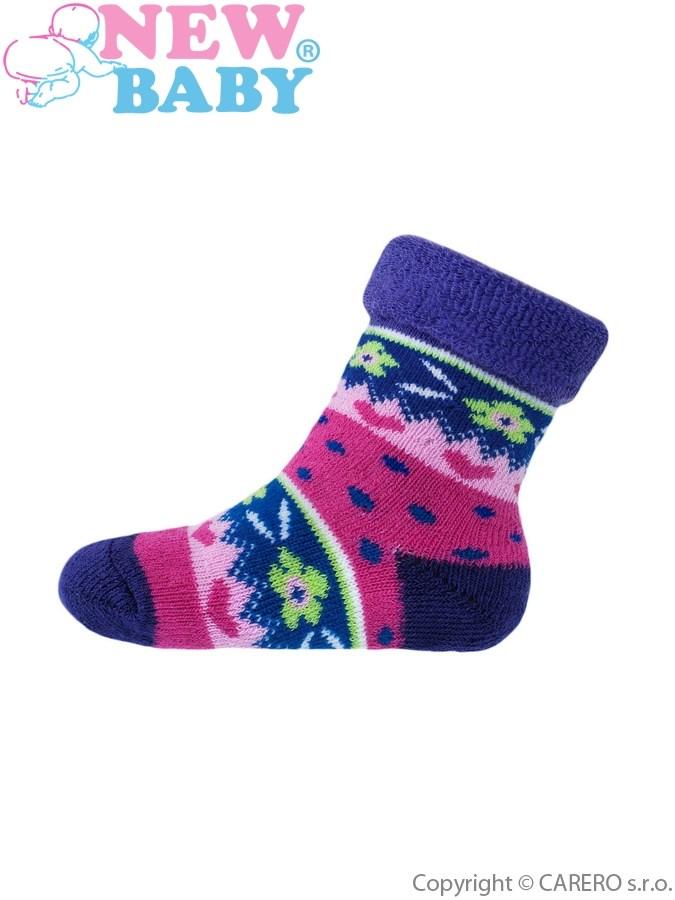 Detské froté ponožky New Baby so vzorom vínovo-fialové