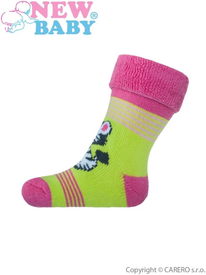 Detské froté ponožky New Baby žlto-ružové s kravičkou