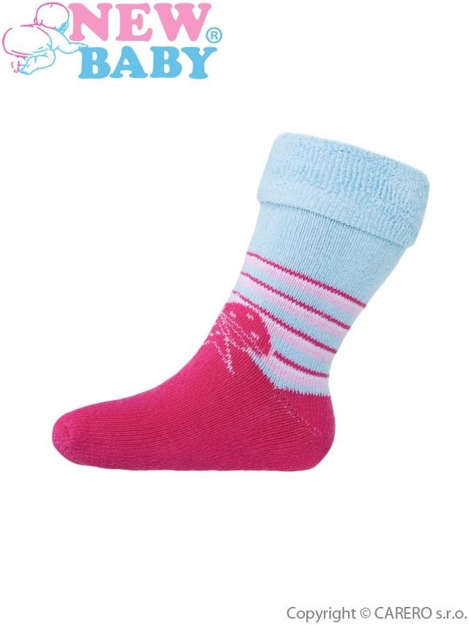 Detské froté ponožky New Baby ružovo-modré s mašľou