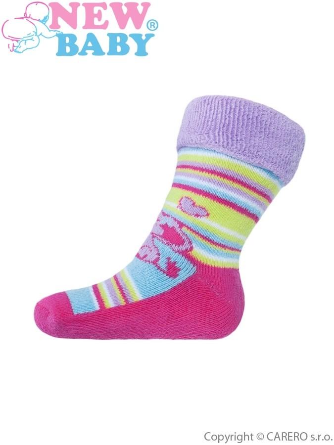 Detské froté ponožky New Baby farebné so slonom