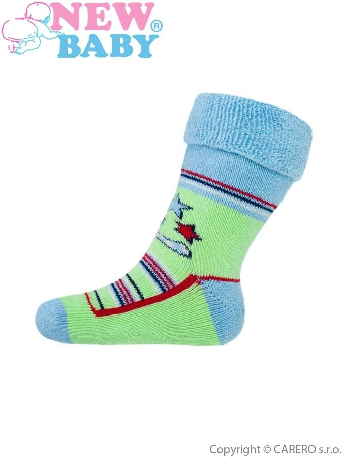 Detské froté ponožky New Baby zelené s mačičkou