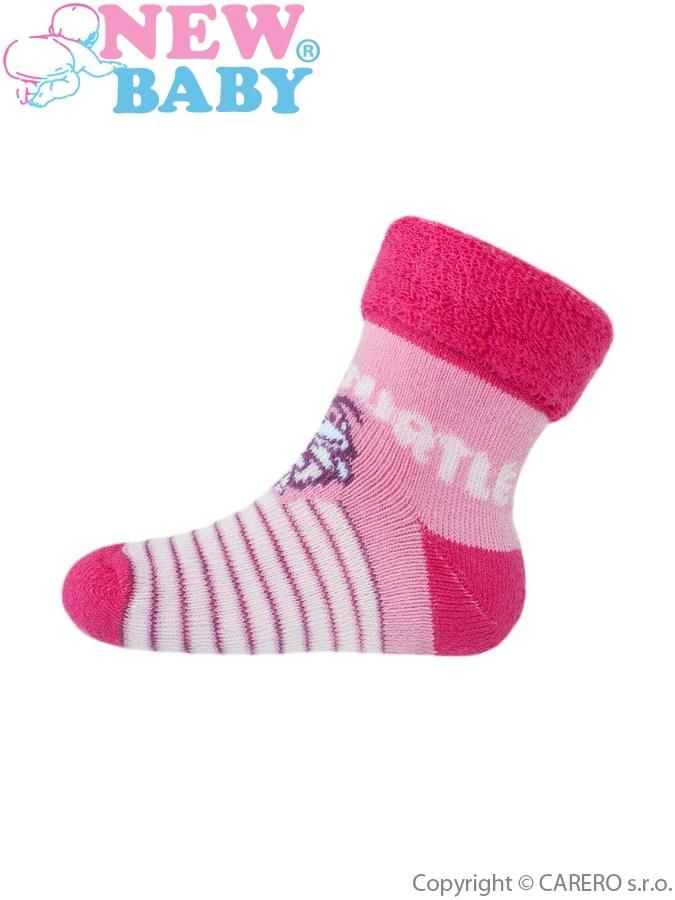 Detské froté ponožky New Baby ružové super turtle
