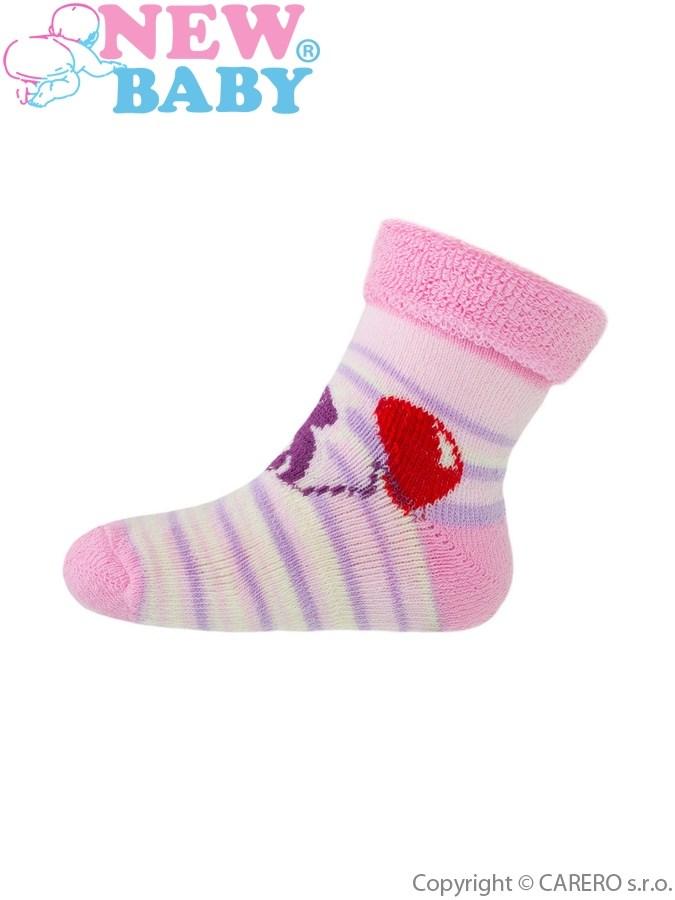 Detské froté ponožky New Baby ružové s tučniakom
