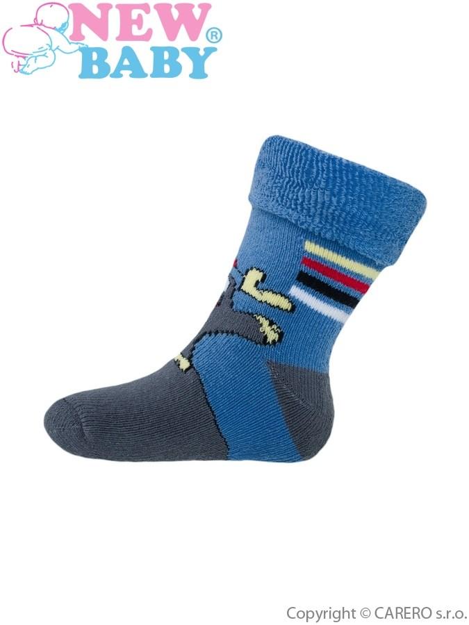 Detské froté ponožky New Baby modré s príšerkou