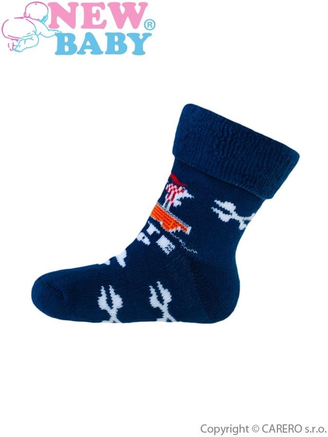 Detské froté ponožky New Baby tmavo modré pirat ship