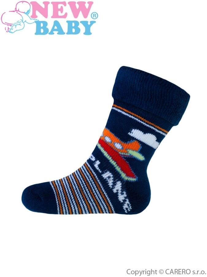 Detské froté ponožky New Baby tmavo modré happy plane