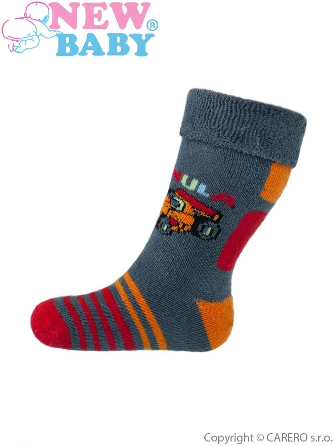 Detské froté ponožky New Baby červené s autíčkami