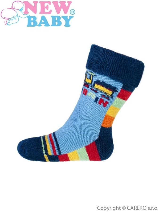 Detské froté ponožky New Baby modré toy train