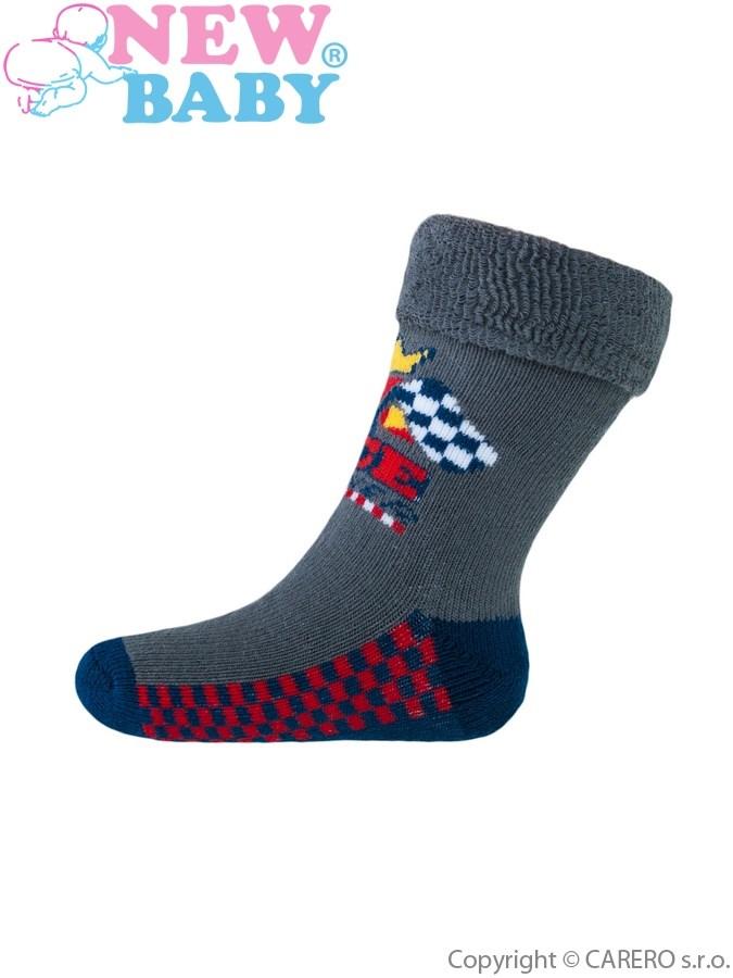 Detské froté ponožky New Baby sivé race